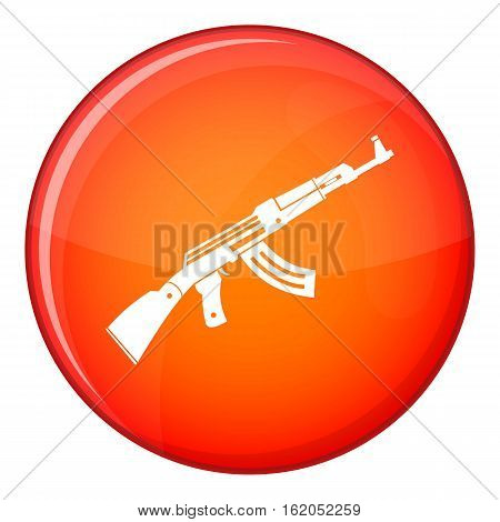 Submachine gun icon in red circle isolated on white background vector illustration