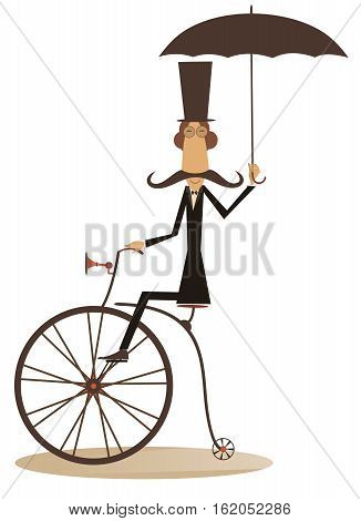 Gentleman with mustache, top hat and umbrella rides a retro bike and looks healthy and happy