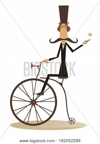 Gentleman with mustache, top hat and umbrella rides a retro bike and smoking a cigar