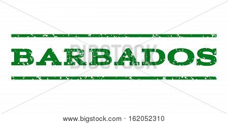 Barbados watermark stamp. Text tag between horizontal parallel lines with grunge design style. Rubber seal stamp with dirty texture. Vector green color ink imprint on a white background.