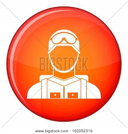 Military paratrooper icon in red circle isolated on white background vector illustration