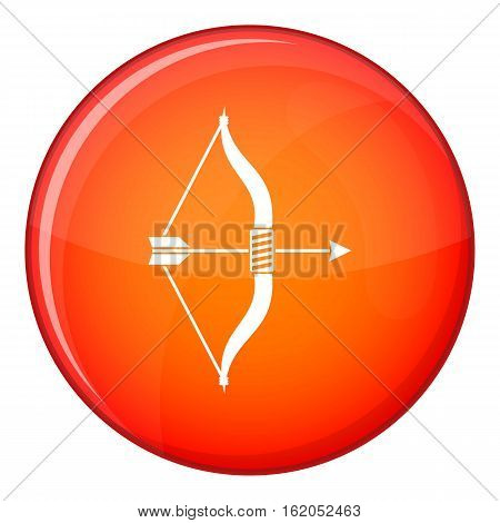 Bow and arrow icon in red circle isolated on white background vector illustration