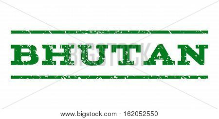 Bhutan watermark stamp. Text tag between horizontal parallel lines with grunge design style. Rubber seal stamp with unclean texture. Vector green color ink imprint on a white background.