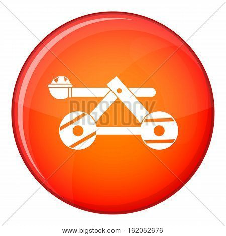 Ancient wooden catapult icon in red circle isolated on white background vector illustration