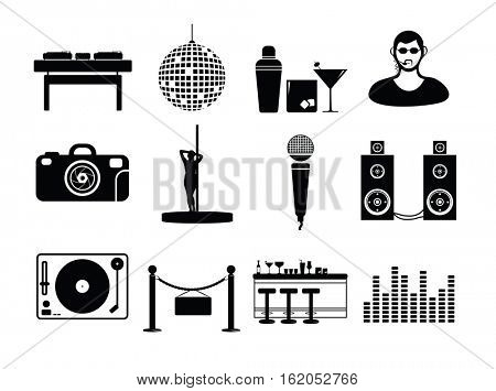 Vector icon set for night club on white background