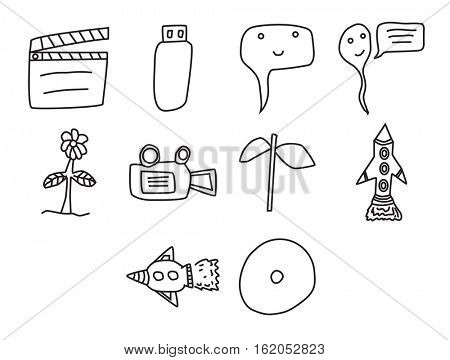 Vector icon set for cinema on white background