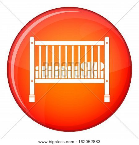 Baby bed icon in red circle isolated on white background vector illustration