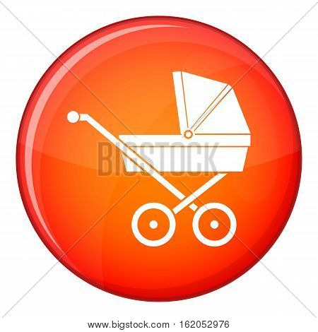 Baby carriage icon in red circle isolated on white background vector illustration