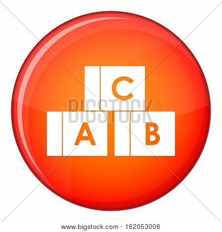 Alphabet cubes with letters A, B, C icon in red circle isolated on white background vector illustration