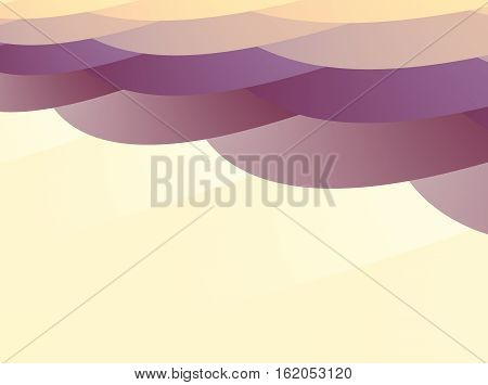 Abstract fractal with layers of irregular oval shapes overlapping like scales in yellow orange and purple hues. Text space. For layouts leaflets pamphlets templates skins computer backgrounds.