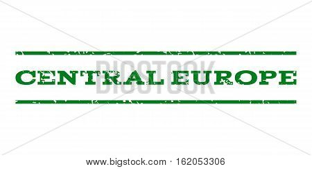 Central Europe watermark stamp. Text tag between horizontal parallel lines with grunge design style. Rubber seal stamp with scratched texture. Vector green color ink imprint on a white background.