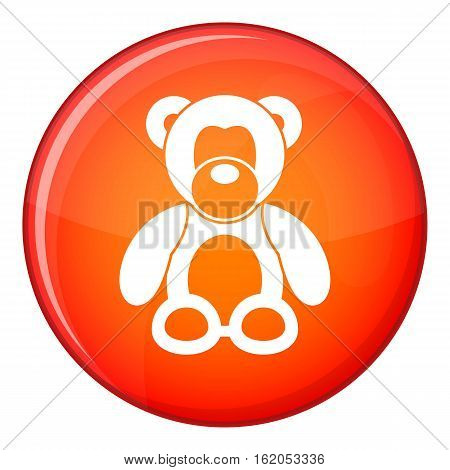 Teddy bear icon in red circle isolated on white background vector illustration