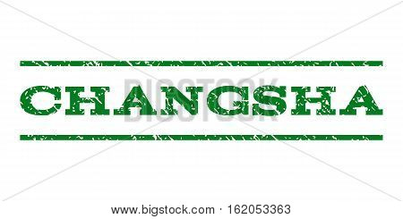 Changsha watermark stamp. Text tag between horizontal parallel lines with grunge design style. Rubber seal stamp with dust texture. Vector green color ink imprint on a white background.