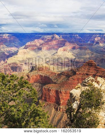 Excellent View Of Rock Formation On The South Rim Of The Grand Canyon National Park, Arizona, United