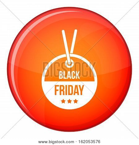 Black Friday sale tag icon in red circle isolated on white background vector illustration