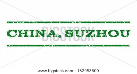 China, Suzhou watermark stamp. Text caption between horizontal parallel lines with grunge design style. Rubber seal stamp with dust texture. Vector green color ink imprint on a white background.