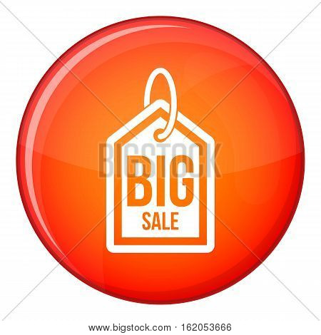 Big sale tag icon in red circle isolated on white background vector illustration