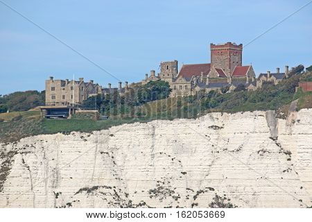 Dover Castle on top of chalk cliffs