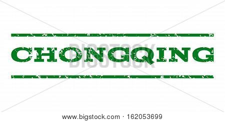 Chongqing watermark stamp. Text tag between horizontal parallel lines with grunge design style. Rubber seal stamp with scratched texture. Vector green color ink imprint on a white background.