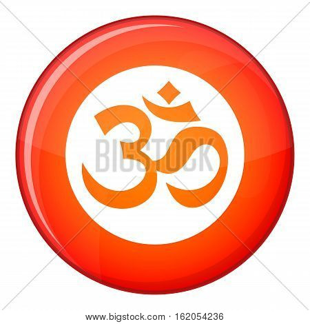 Symbol Aum icon in red circle isolated on white background vector illustration