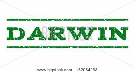 Darwin watermark stamp. Text tag between horizontal parallel lines with grunge design style. Rubber seal stamp with unclean texture. Vector green color ink imprint on a white background.