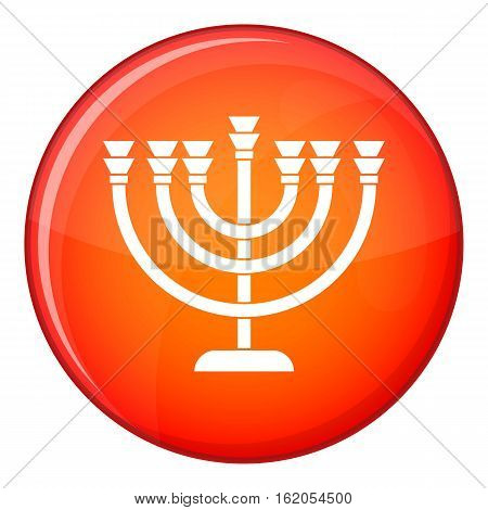 Menorah icon in red circle isolated on white background vector illustration