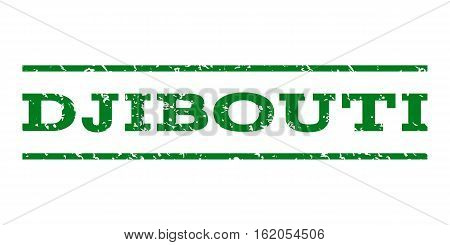 Djibouti watermark stamp. Text tag between horizontal parallel lines with grunge design style. Rubber seal stamp with dirty texture. Vector green color ink imprint on a white background.