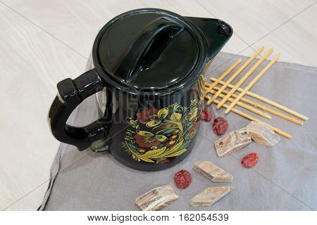Black Ceramic Kettle. Electric Kettle With Color Pattern