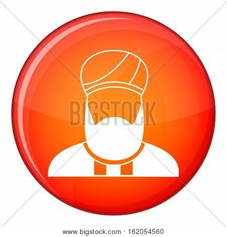 Muslim preacher icon in red circle isolated on white background vector illustration