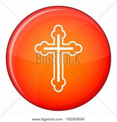 Crucifix icon in red circle isolated on white background vector illustration