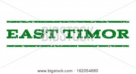 East Timor watermark stamp. Text caption between horizontal parallel lines with grunge design style. Rubber seal stamp with dust texture. Vector green color ink imprint on a white background.
