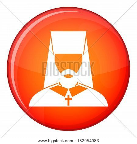 Orthodox priest icon in red circle isolated on white background vector illustration