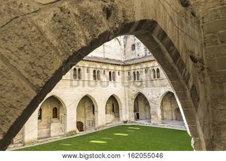 OLD Popes Palace in Avignon Provence France.