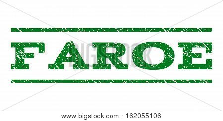 Faroe watermark stamp. Text caption between horizontal parallel lines with grunge design style. Rubber seal stamp with scratched texture. Vector green color ink imprint on a white background.