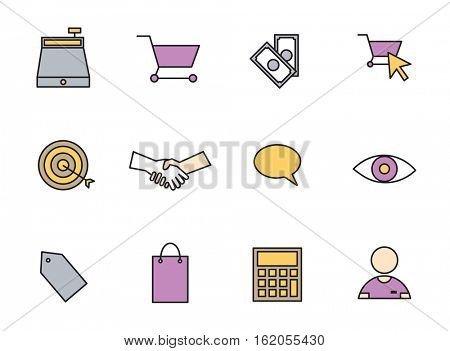 Vector set icons set for business and shopping on white background