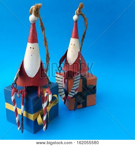 Santa Claus home decoration toy Merry christmas on blue background