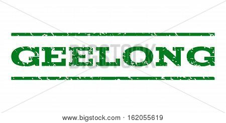 Geelong watermark stamp. Text caption between horizontal parallel lines with grunge design style. Rubber seal stamp with dust texture. Vector green color ink imprint on a white background.