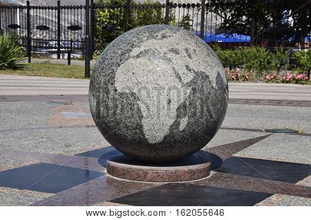 Granite Bowl Engraved Maps Of The World. The Symbol Of Peace And Unity