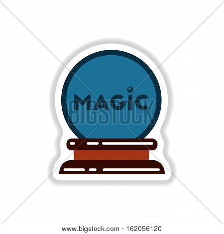 paper sticker on stylish background of magic ball