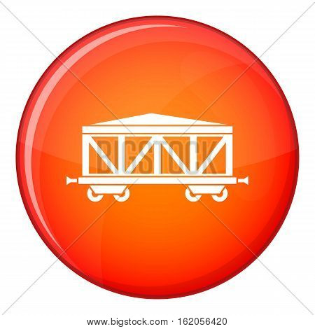 Train cargo wagon icon in red circle isolated on white background vector illustration