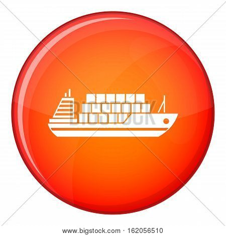 Cargo ship icon in red circle isolated on white background vector illustration