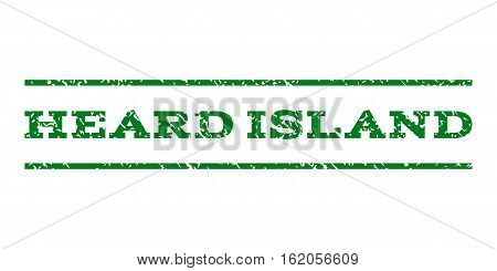 Heard Island watermark stamp. Text caption between horizontal parallel lines with grunge design style. Rubber seal stamp with dust texture. Vector green color ink imprint on a white background.