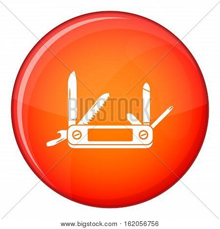 Multifunction knife icon in red circle isolated on white background vector illustration