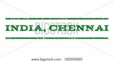 India, Chennai watermark stamp. Text caption between horizontal parallel lines with grunge design style. Rubber seal stamp with unclean texture. Vector green color ink imprint on a white background.