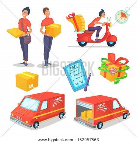 Cartoon delivery concept objects set. Fast delivery van and scooter. Delivery man. Vector illustration.