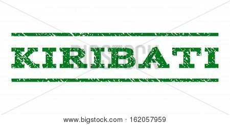 Kiribati watermark stamp. Text caption between horizontal parallel lines with grunge design style. Rubber seal stamp with dirty texture. Vector green color ink imprint on a white background.