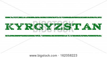 Kyrgyzstan watermark stamp. Text tag between horizontal parallel lines with grunge design style. Rubber seal stamp with dust texture. Vector green color ink imprint on a white background.