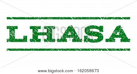 Lhasa watermark stamp. Text tag between horizontal parallel lines with grunge design style. Rubber seal stamp with dust texture. Vector green color ink imprint on a white background.
