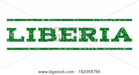 Liberia watermark stamp. Text tag between horizontal parallel lines with grunge design style. Rubber seal stamp with dirty texture. Vector green color ink imprint on a white background.