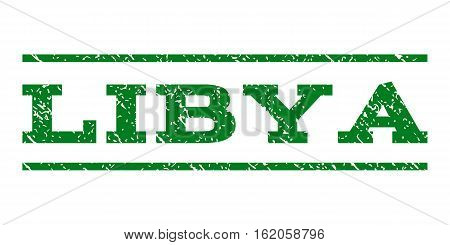 Libya watermark stamp. Text caption between horizontal parallel lines with grunge design style. Rubber seal stamp with dirty texture. Vector green color ink imprint on a white background.